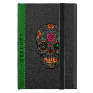 Capa iPad Mini Couro preto & verde & crânio floral retro do