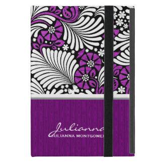 Capa iPad Mini Denominação retro floral e branca violeta