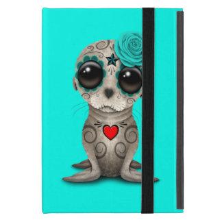 Capa iPad Mini Dia azul do leão de mar inoperante do bebê