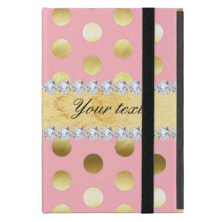 Capa iPad Mini Diamantes cor-de-rosa das bolinhas da folha de