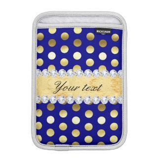 Capa iPad Mini Diamantes das bolinhas da folha de ouro do marinho