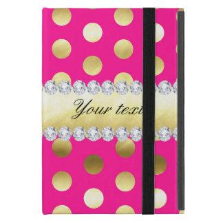 Capa iPad Mini Diamantes das bolinhas da folha de ouro do rosa