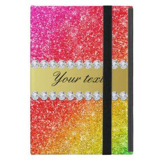 Capa iPad Mini Diamantes do brilho do arco-íris do falso