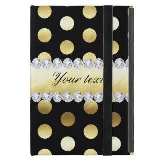 Capa iPad Mini Diamantes pretos das bolinhas da folha de ouro