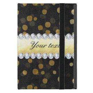 Capa iPad Mini Diamantes pretos dos confetes do ouro do quadro