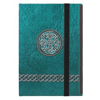 Capa iPad Mini Do iPad tribal celta de couro do nó da cerceta