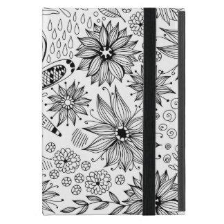 Capa iPad Mini Doodle da libélula e das flores