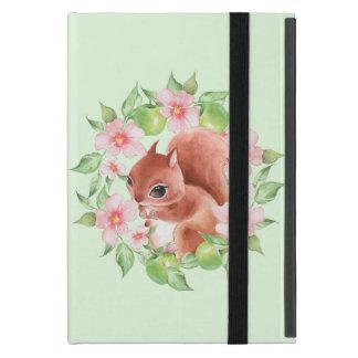 Capa iPad Mini Esquilo e flores cor-de-rosa