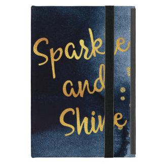 Capa iPad Mini Faísca e de ouro & de aguarela do brilho arte da