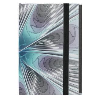 Capa iPad Mini Flor azul moderna da arte do Fractal do branco