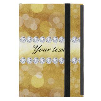 Capa iPad Mini Folha e diamantes bonitos de Bokeh do ouro