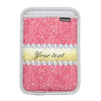 Capa iPad Mini Folha e diamantes cor-de-rosa de ouro dos Sequins
