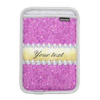 Capa iPad Mini Folha e diamantes roxos de ouro dos Sequins