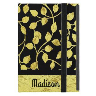 Capa iPad Mini Folhas botânicas da folha de ouro do falso,