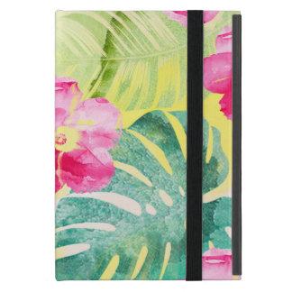 Capa iPad Mini Folhas da banana e flores tropicais do hibiscus