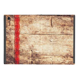 Capa iPad Mini Fundo de madeira da textura. Fita vermelha. Papel