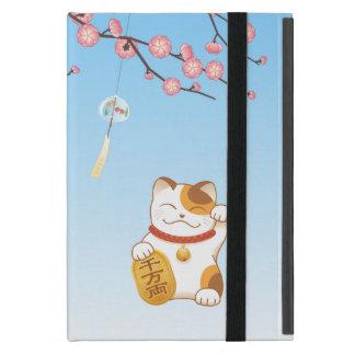 Capa iPad Mini Gato afortunado japonês, chita Maneki Neko