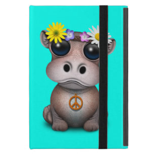 Capa iPad Mini Hippie bonito do hipopótamo do bebê