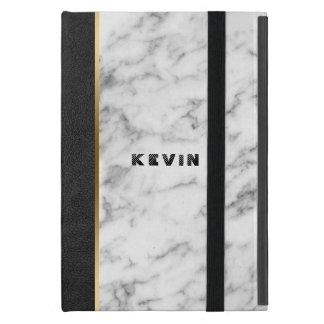 Capa iPad Mini Imagem do couro preto & do mármore branco