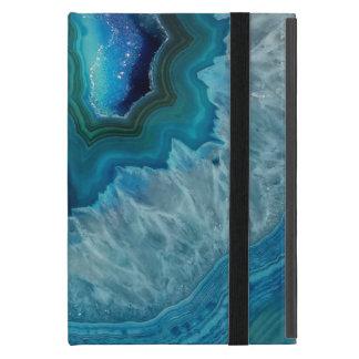 Capa iPad Mini Imagem mineral do cristal da ágata da rocha azul