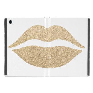 Capa iPad Mini lábios claros elegantes do brilho do ouro
