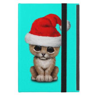 Capa iPad Mini Leão Cub bonito que veste um chapéu do papai noel