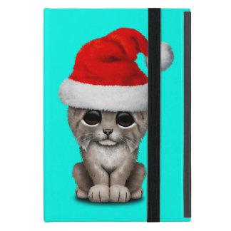 Capa iPad Mini Lince bonito Cub que veste um chapéu do papai noel
