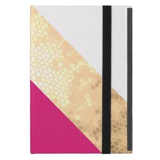 Capa iPad Mini listras claras elegantes do branco do rosa do ouro