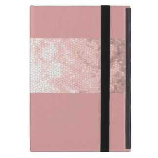 Capa iPad Mini listras cor-de-rosa do rosa do ouro do falso claro