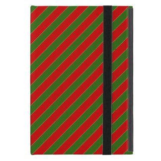 Capa iPad Mini Listras diagonais vermelhas e verdes