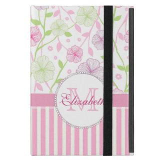 Capa iPad Mini Listras do rosa Pastel, do roxo, das flores, as