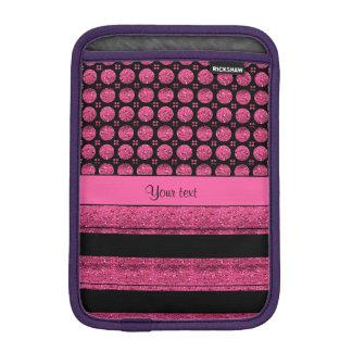 Capa iPad Mini Listras do rosa quente e pontos do brilho