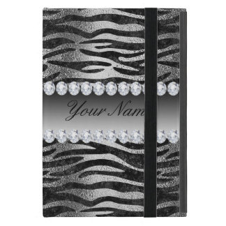 Capa iPad Mini Listras pretas da zebra da folha do falso na prata