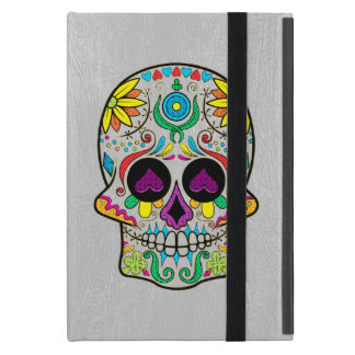 Capa iPad Mini Luz - couro cinzento do falso & crânio colorido do