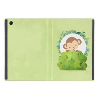 Capa iPad Mini Macaco bonito do safari com folhas tropicais