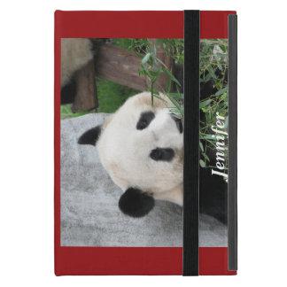 Capa iPad Mini mini caso in-folio do iPad, panda, vermelha