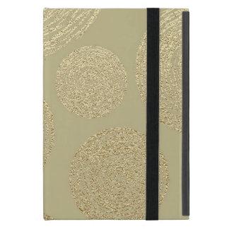 Capa iPad Mini moderno, ouro, bolinhas, metálico, elegante,