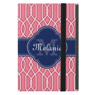 Capa iPad Mini Monograma branco cor-de-rosa brilhante do marinho