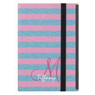 Capa iPad Mini Monograma das listras do brilho do aqua do rosa e