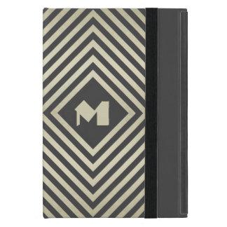 Capa iPad Mini Monograma do diamante do carvão vegetal e do bege
