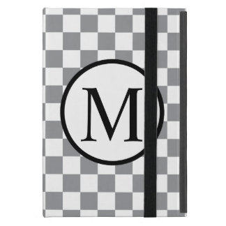 Capa iPad Mini Monograma simples com tabuleiro de damas cinzento
