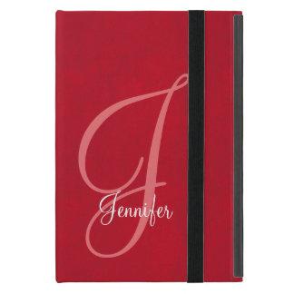 Capa iPad Mini Monograma vermelho e de couro