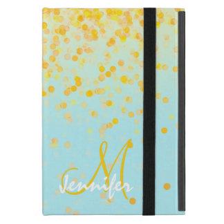 Capa iPad Mini Nome amarelo dourado feminino do ombre de turquesa