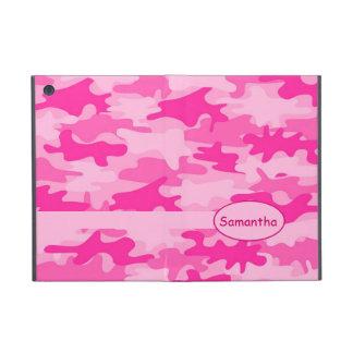Capa iPad Mini Nome fúcsia cor-de-rosa da camuflagem de Camo pers