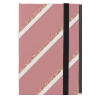 Capa iPad Mini o rosa cor-de-rosa do brilho do ouro listra o