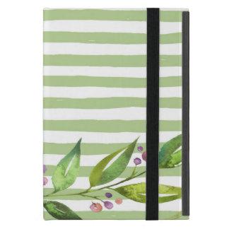 Capa iPad Mini O verde corajoso da arte da aguarela listra o