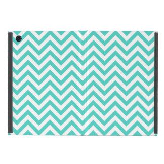 Capa iPad Mini O ziguezague azul e branco da cerceta listra o