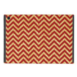 Capa iPad Mini O ziguezague vermelho do brilho do ouro listra o