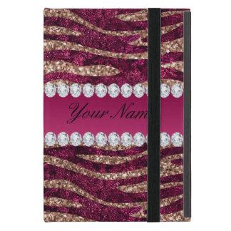 Capa iPad Mini Ouro cor-de-rosa das listras da zebra da folha do