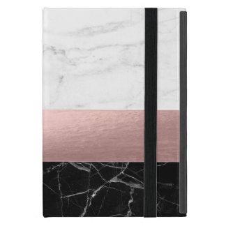 Capa iPad Mini ouro cor-de-rosa do mármore branco preto claro